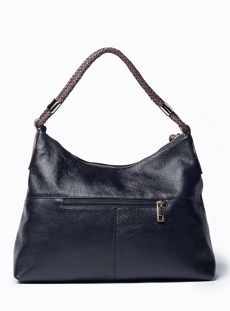 Viver Moon Black Leather Shoulder Bag