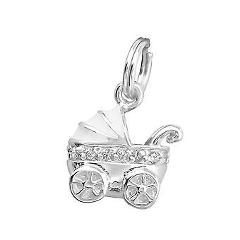 Baby vogn - 925 sterlingsølv sjarm med delt ring - W29949X