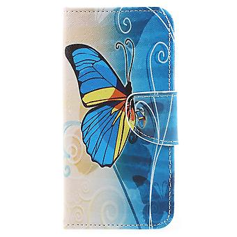 Samsung Galaxy A8 (2018) Plånboksfodral Blue and Gold Butterfly