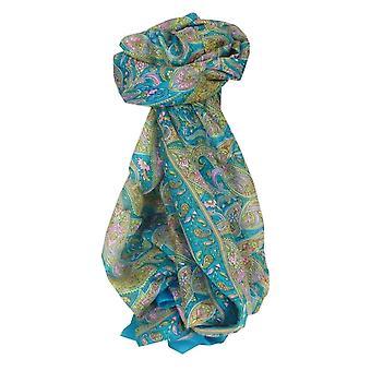 Amoreira cachecol longo tradicional Jald Aquamarine por Pashmina & seda