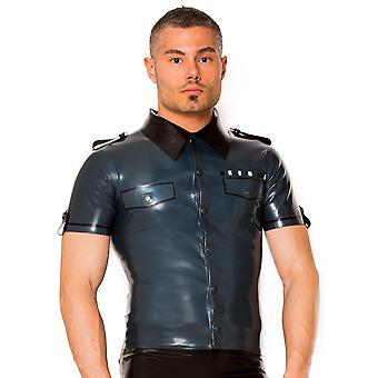 Skin Two Clothing Men's Sexy Shirt Army Uniform Outfit Costume in Rubber Latex