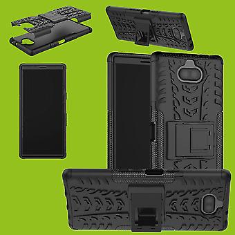 Hybrid Case 2teilig Robot Schwarz für Sony Xperia 10 Tasche Hülle Cover Schutz