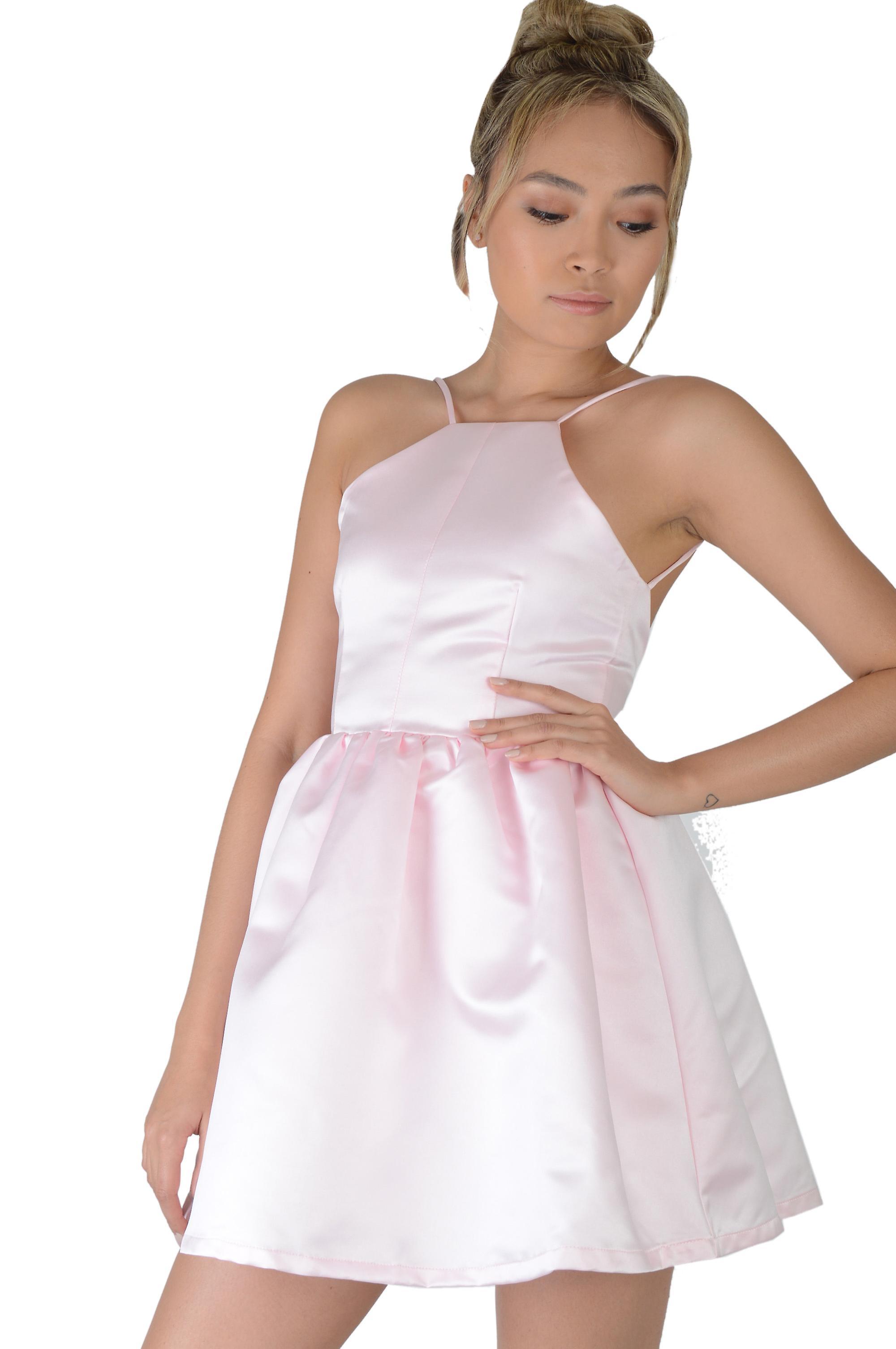 Lovemystyle Pastell Rosa Satin Skater Kleid Mit Unteren Rucken Fruugo De