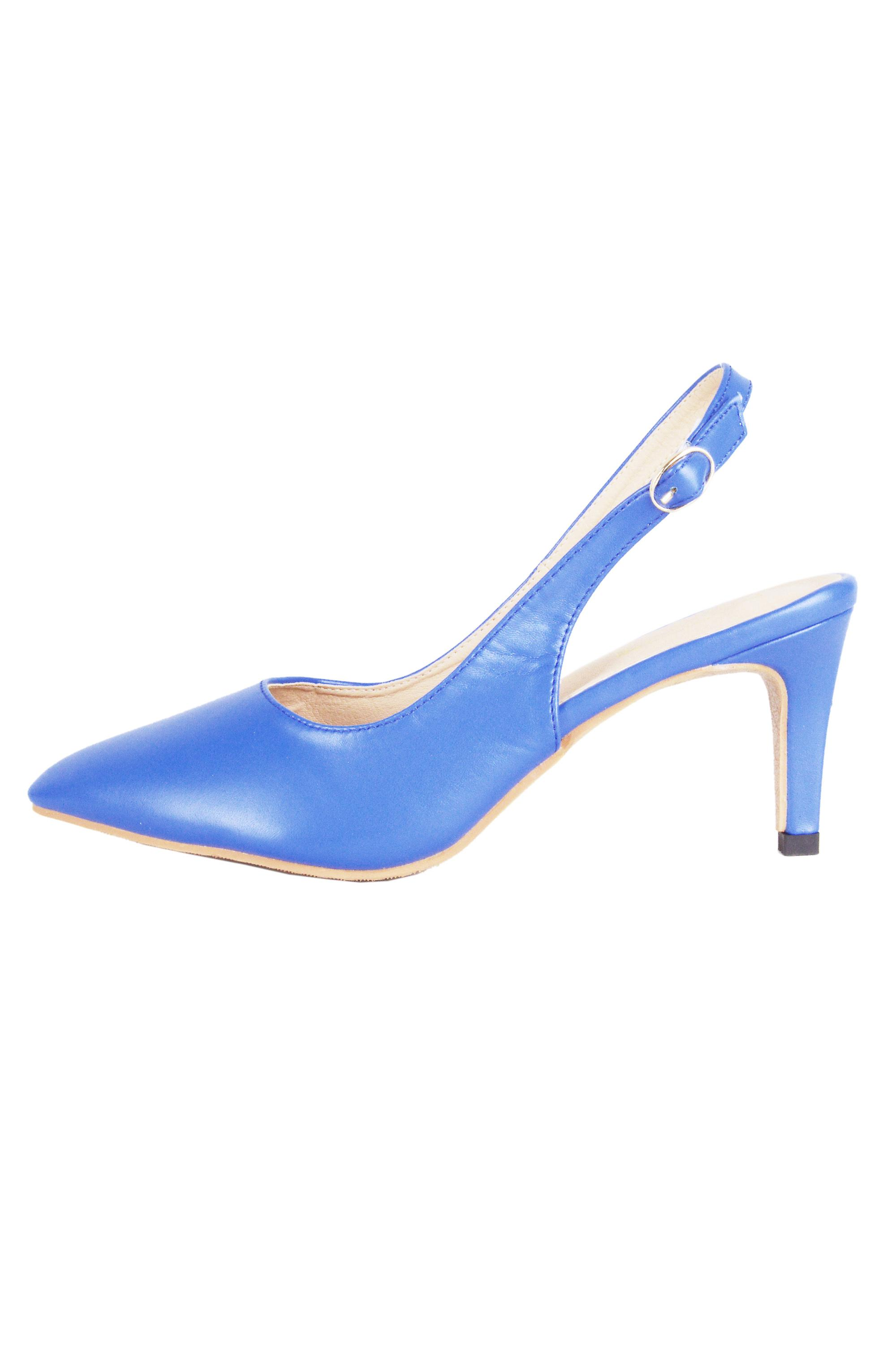 LMS Blue Pointed Toe Sling Back Court Shoe With Mid Heel