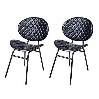 QAZQA-Satz von 2 Esszimmer Stühle Leder dunkelblau mit eisernen Beinen - Larnaca