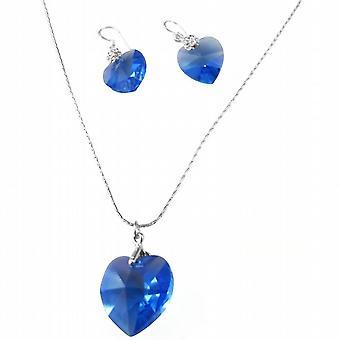 Swarovski Sapphire sydän romanttinen Valentine kaulakoru korut Set