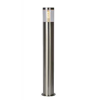Lucide Fedor Modern Cylinder Steel Satin Chrome Bollard Light