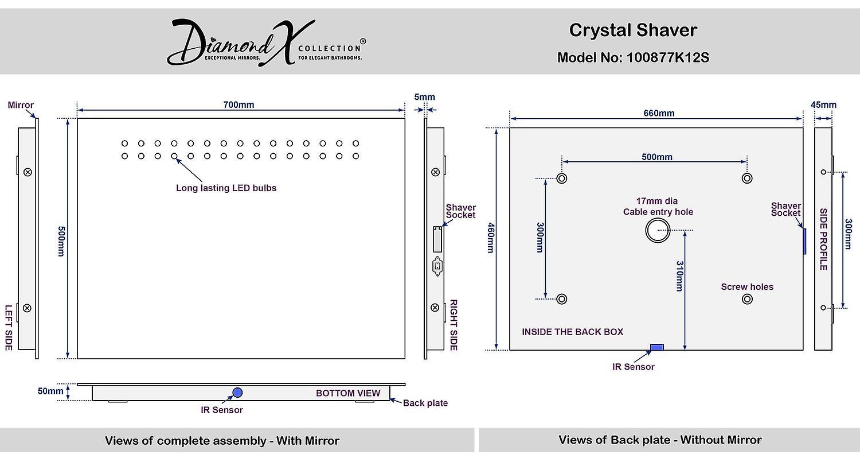 Crystal Shaver LED Bathroom Mirror With Demister Pad & Sensor k12s