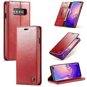 Cas de téléphone portable CaseMe housse de protection pour Samsung Galaxy S10 portefeuille de sac business rouge