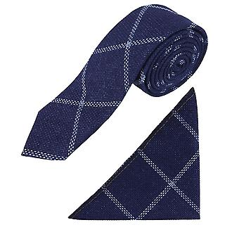 Boys Slim Check Tweed Tie and Pocket Square - Navy Blue