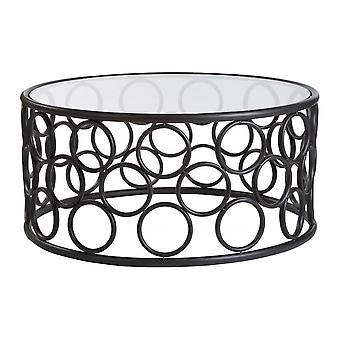 Fusion Living Black Metal Circles Table à café avec dessus en verre