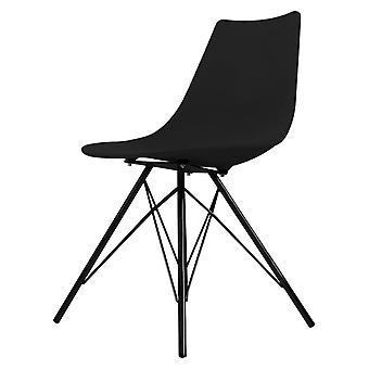 Fusion Living kultowa czarna plastikowa jadalnia krzesło z Black Metal Legs