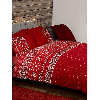 Couverture nordique de couette de Noel et ensemble d'oreiller