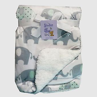 White Elephants Mink and Sherpa Fleece Lined Baby Blanket