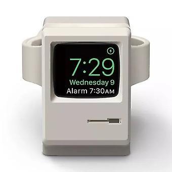 Ständer für Apple Watch Halter Station Retro Style Silikon Halterung Deko Grau