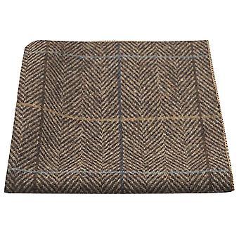 Luksuriøse Walnut Brown sildeben Check lomme pladsen, lommetørklæde, Tweed
