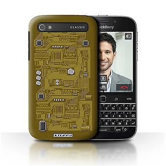 STUFF4 Case/Cover for Blackberry Classic/Q20/Yellow/Circuit Board
