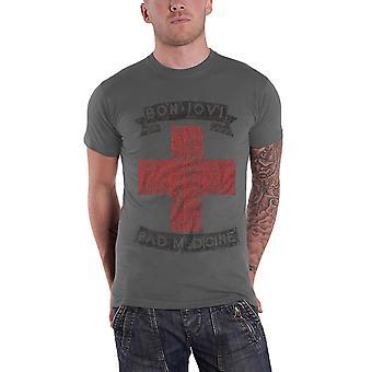 Bon Jovi T Shirt Bad Medicine band logo new Official Mens Grey