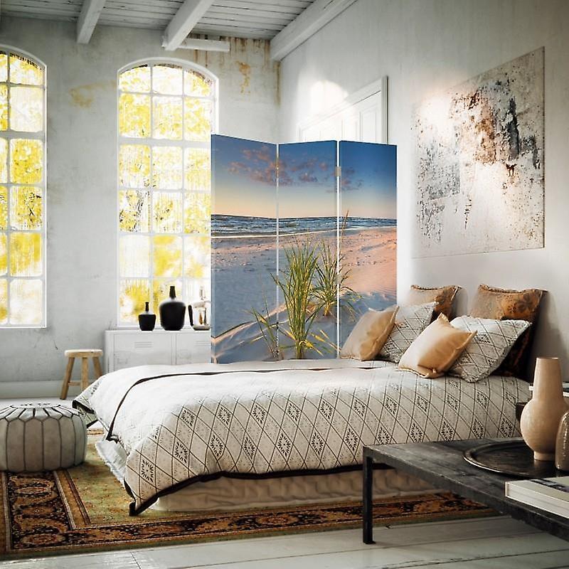 Diviseur de chambre, 3 panneaux, unilatéral, toile, herbe verte sur la plage