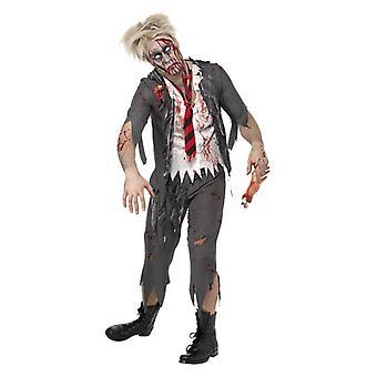 Mens High School horror Zombie Schoolboy fantasia vestido traje Halloween