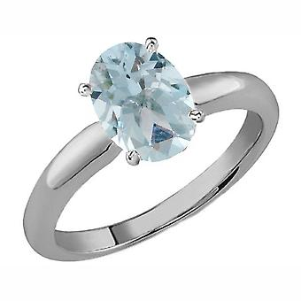 Dazzlingrock Collection Sterling Silver 8X6 MM Oval Aquamarine Ladies Solitaire Bridal Engagement Ring