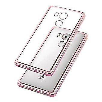 Cadorabo Hülle für Huawei MATE 8 - Hülle in TRANSPARENT mit CHROM ROSEGOLD – Handyhülle aus TPU Silikon im Chrom Design - Silikonhülle Schutzhülle Ultra Slim Soft Back Cover Case Bumper