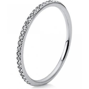 Bague en diamant - 14K 585/- or blanc - 0.15 ct. Taille 54