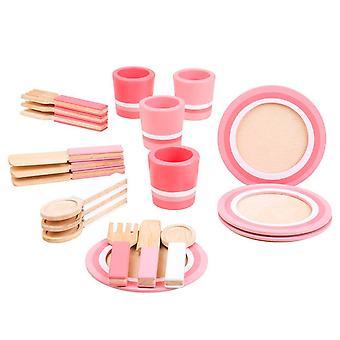 Holzgeschirr Pink