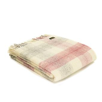 Tweedmill Pure New Wool Meadow Check Throw - Dusky Pink
