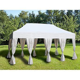Pop up gazebo FleXtents Steel 4x8 m White, incl. 10 decorative curtains
