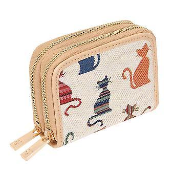 Rötky kissan naisten kaksinkertaisen zip RFID rahaa kukkaro on signare kuva kudos/DZip-cheky
