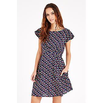 Louche Swift Bird Print Dress Navy