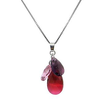 Necklace and pendant Indicolite flower COFLEUR276 - necklace and pendant Silver 925/00 crystals Swarovski red roses and purple woman