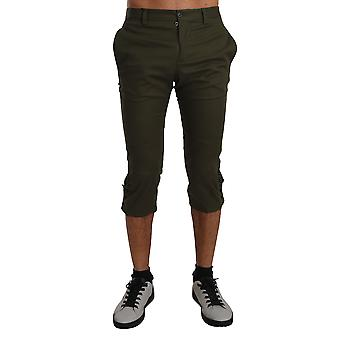 Dolce & Gabbana Capri Trousers Green Cotton Stretch Pants