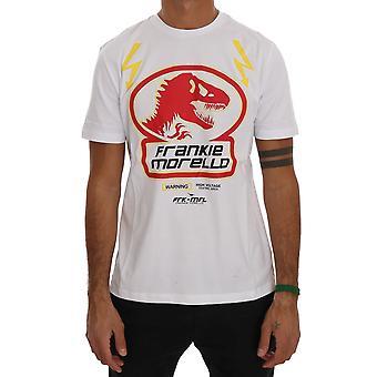 Frankie Morello White Cotton Crewneck T-Shirt Dinosaur Logo