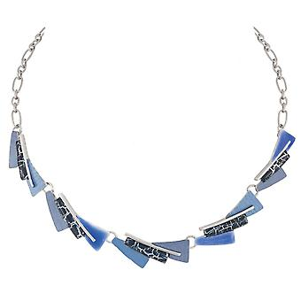 Eternal Collection Expression Blue Enamel Multicoloured Silver Tone Statement Necklace