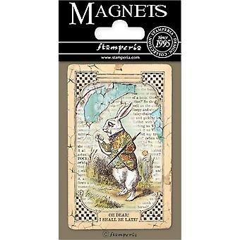 Stamperia Alice weiß Kaninchen 8x5.5cm Magnet