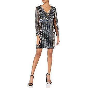 Adrianna Papell Women's Stripe Bead Sheath Dress, Black, Black Multi, Size 12.0