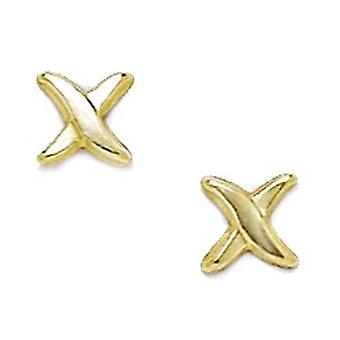 14k Sárga Arany X Shape Bélyegzés a fiúk vagy lányok fülbevaló intézkedések 6x6mm