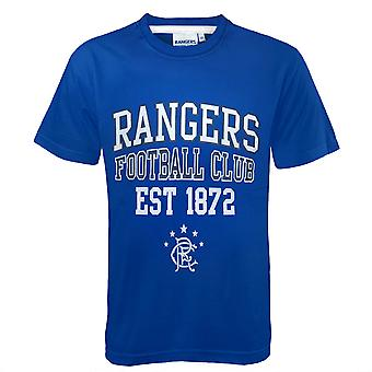 Rangers FC Official Football Gift Boys Graphic T-Shirt Royal