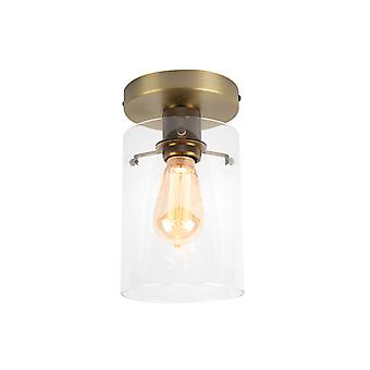QAZQA Modern Ceiling Lamp Bronze with Glass Shade - Dome