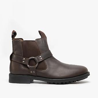 Roamers Kurt Mens Couro Chunky Chelsea Boots Dark Brown