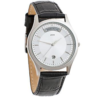 JOBO men's wristwatch quartz analog stainless steel leather date mens watch