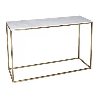 Gillmore Biały marmur i złoty metal współczesny stół konsolowy