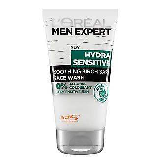 L'Oreal Men Expert by LOreal Face Wash Gel Hydra Sentive 150ml No Alcohol made with BirchSap
