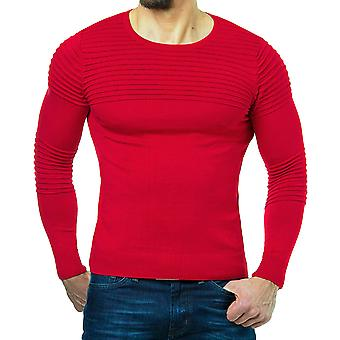 Cloudstyle Men's Sweater Solid Round Neck Striped Pullover