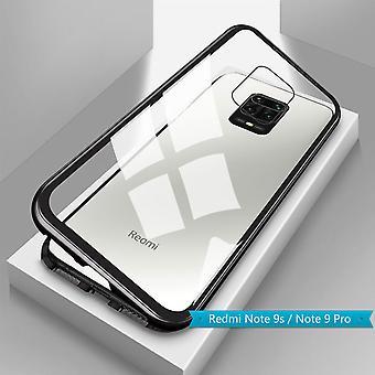 Para Xiaomi Redmi Note 9S /9 Pro Magnet / Metal / Vidro Estojo de Estojo Transparente / Manga de Caixa Preta Nova