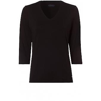 Olsen Black V Neck Jersey Top