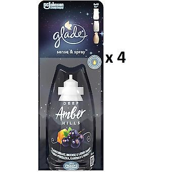 4 x Glade Sense and Spray Refill 18ml - Deep Amber Hills