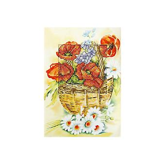 Orchidea Printed Cross Stitch Card Kit - Poppies in Basket